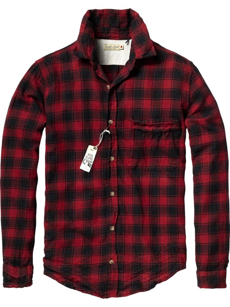 Red black buffalo check flannel shirt by scotch and for Red and white plaid shirt mens