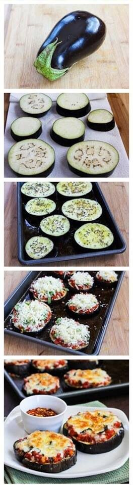 Eggplant Pizza! I'd rather have it with white sauce... But, it's a great idea!