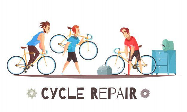 Download Bicycle Repair Mechanic Cartoon Composition For Free Bike Illustration Bike Logos Design Bicycle