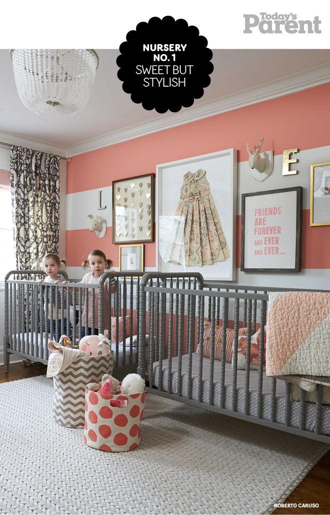 Sweet and sophisticated nursery decor - love the oversized frame with the vintage dress!