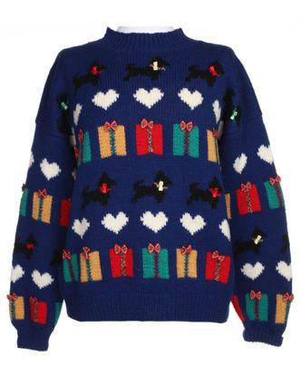 80s Patterned Wool Knit Jumper