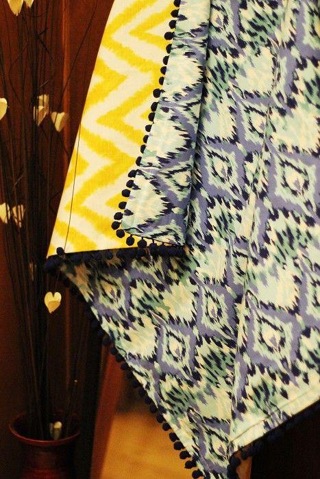 Contrast Ikat Picnic Mat Decorative Throw