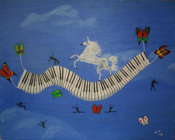 """""""Unicorn Piano Rhapsody"""" - Ulei pe carton 50x40 cm - Oil on board 20x16 inches $ 1000"""