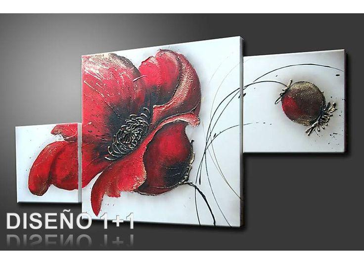 Cuadro flores pintado a mano con acr lico sobre lienzo - Cuadros decorativos modernos ...