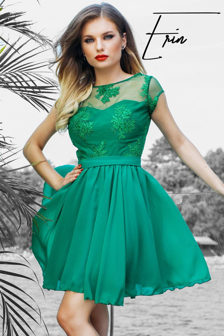 Short evening green dress with precious lace and a skirt made from veil @miss