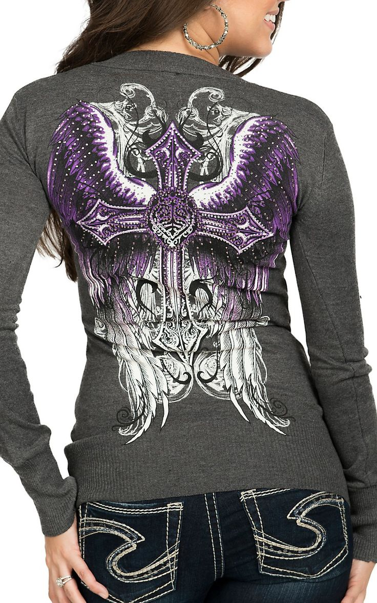 Sinful by Affliction Women's Grey Promised Long Sleeve V-Neck Sweater
