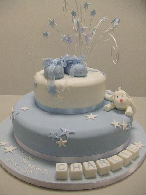 Boys star christening cake