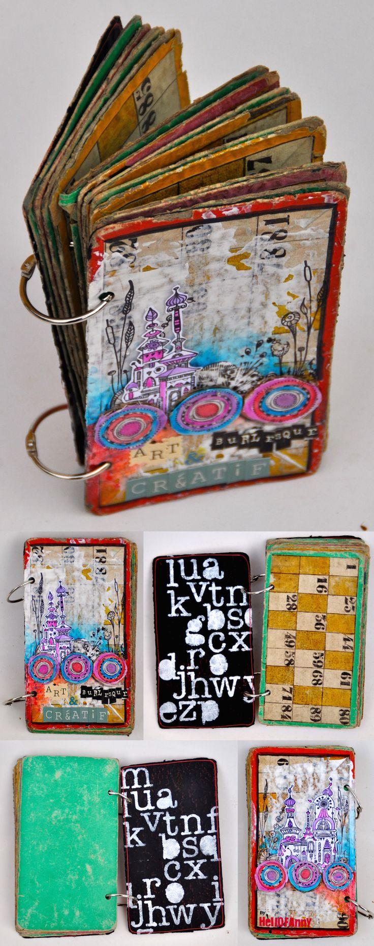 Voici la structure de l'album (ce sont de vieux carton de loto) ainsi que les couvertures Par http://hellofannyscrap.com/