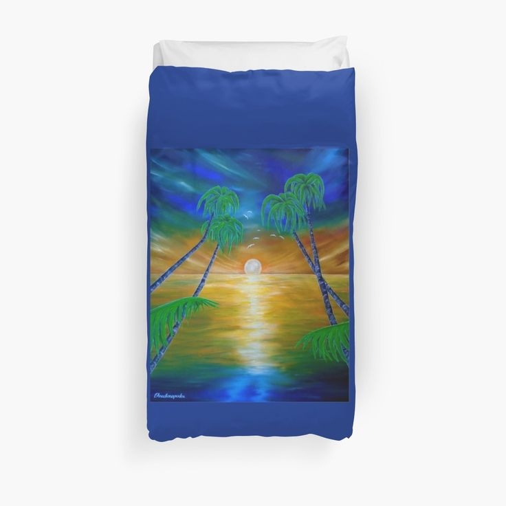 Duvet Cover, bed decor, for sale, home,accessories,bedroom,decor,cool,unique,fancy,artistic,trendy,unusual,awesome,beautiful,modern,fashionable,design,items,products,ideas,blue,colorful,tropical,palmtrees,sea,sunset,fantasy,redbubble