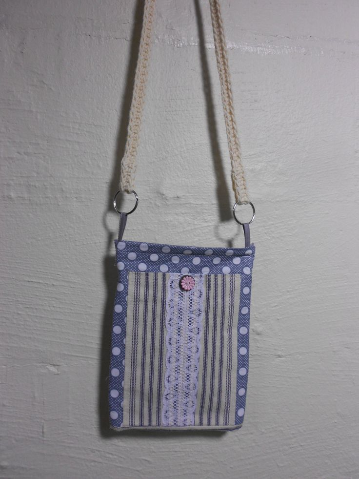 "Gray Dot Denim Stripe Cell Phone Purse Girls Teens 6-1/2 x 9"" Soft Cross Body Purse Crochet Long Strap by KitschMomma on Etsy"