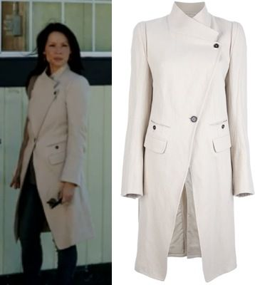 Joan Watson Elementary Cream White Assymetric Trench Coat Jacket Elementary Season 2 Fashion: The Marchioness
