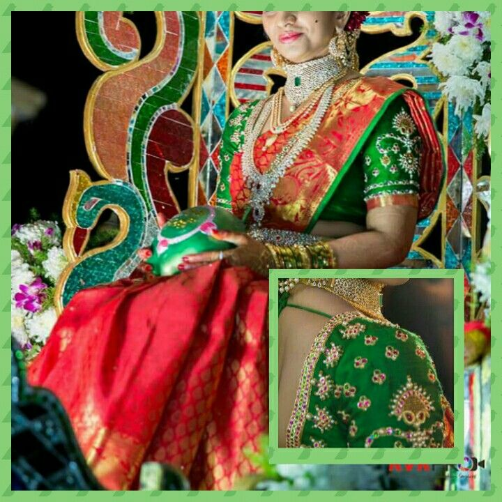 Saree with contrast blouse