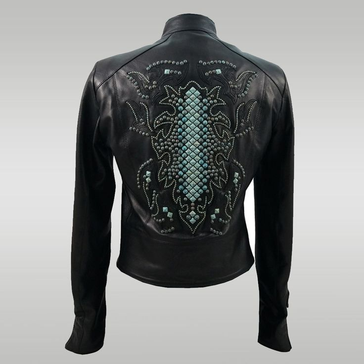 Turquoise Stud Motorcycle Jacket — Anat Marin Fall 2013 Collection -  Handbags, Accessories, Apparel