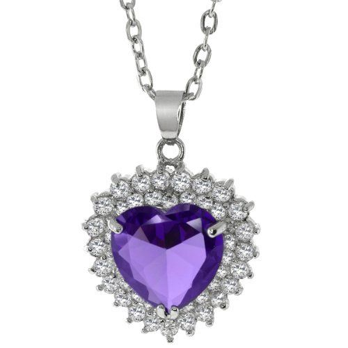 """25mm Purple Heart Shape Crystal & Round Brilliant Cubic Zirconia Pendant 18"""" Gem Stone King. $19.99. 9.0 Grams. 25mm X 25mm with 18"""" Chain. Cubic Zirconia (CZ)"""