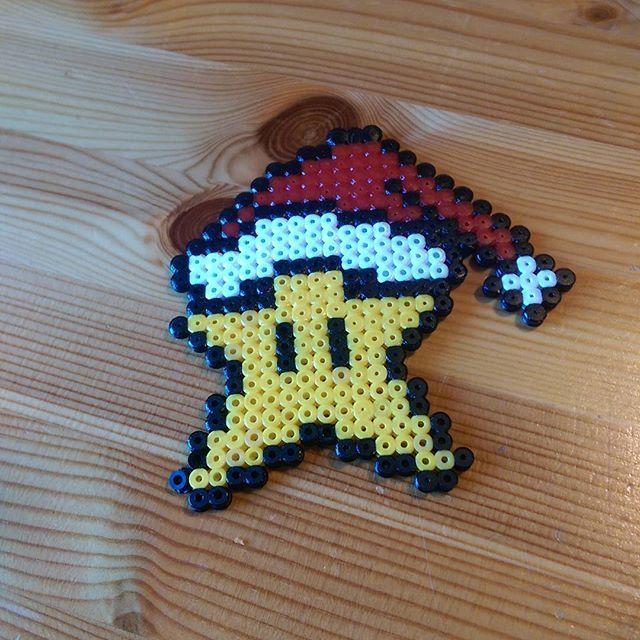 Mario star Christmas ornament hama perler beads by jekrus