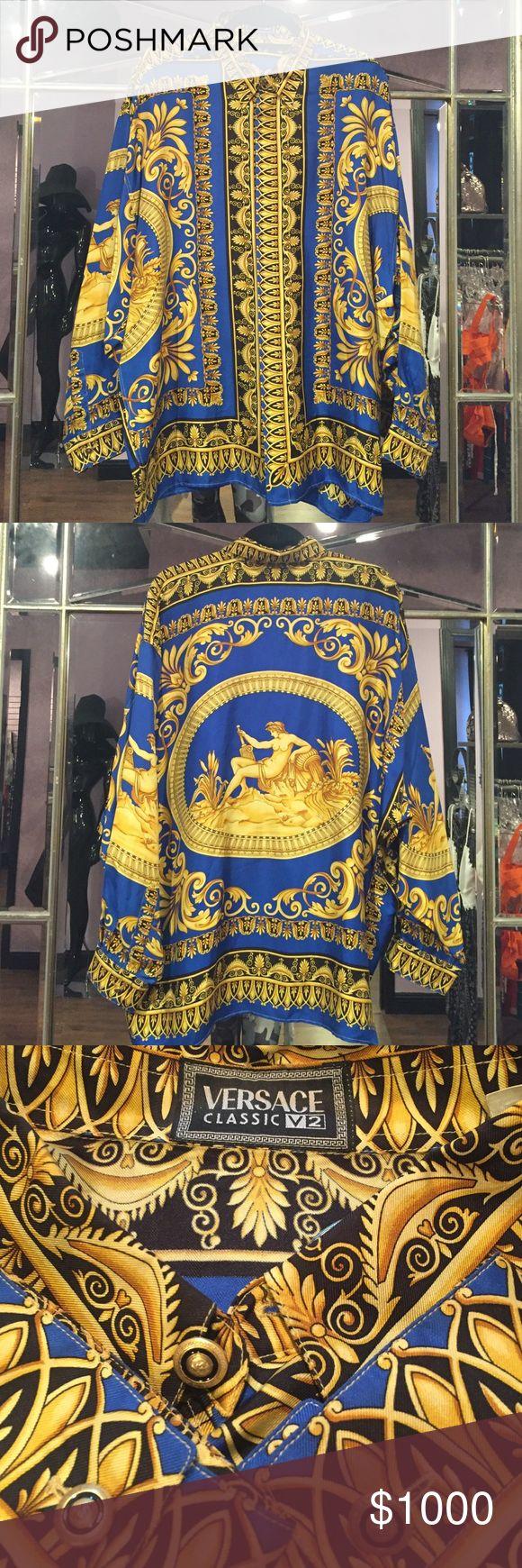 ⚜️ Versace Vintage Silk Shirt In perfect flawless condition authentic Versace %100 Silk Shirt. Size XXL ⚜️ Versace Shirts Dress Shirts