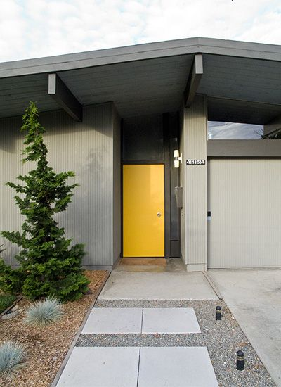 Gray house dark gray trim yellow door color palette for Modern house yellow