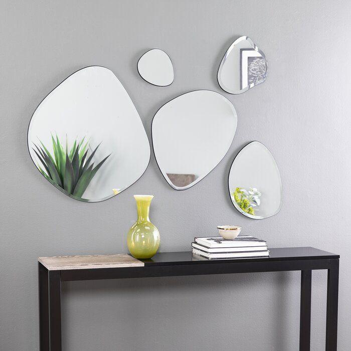 Corrigan Studio 5 Piece Bogard Decorative Glam Frameless Mirror Set Wayfair Mirror Decor Wall Mirrors Set Mirror Wall Decor
