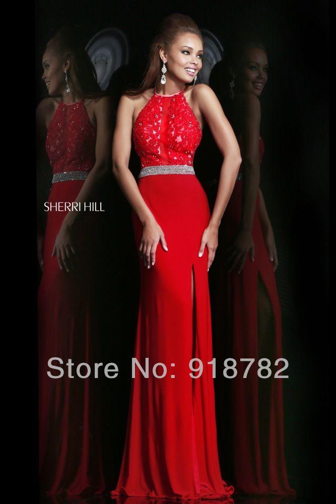 2014 Custom Made Dress Beautiful Mermaid High Neck Sleeveless Chiffon Side  Slit Red Black Formal Evening