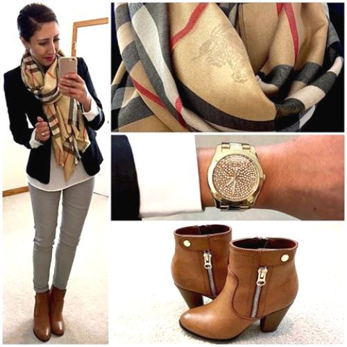 burberry scarf outfit, Stylish outfits combination for a preppy look http://www.justtrendygirls.com/stylish-outfits-combination-for-a-preppy-look/