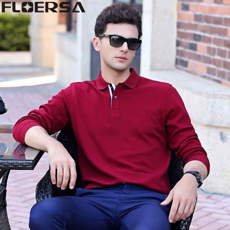 Find More Polo Information about FLOERSA Polo Shirt Men Solid Casual 100%Cotton Mens Long Sleeve Polo Shirts Camisa Polos Masculina#8888 55,High Quality Polo from FLOERSA Official Store on Aliexpress.com
