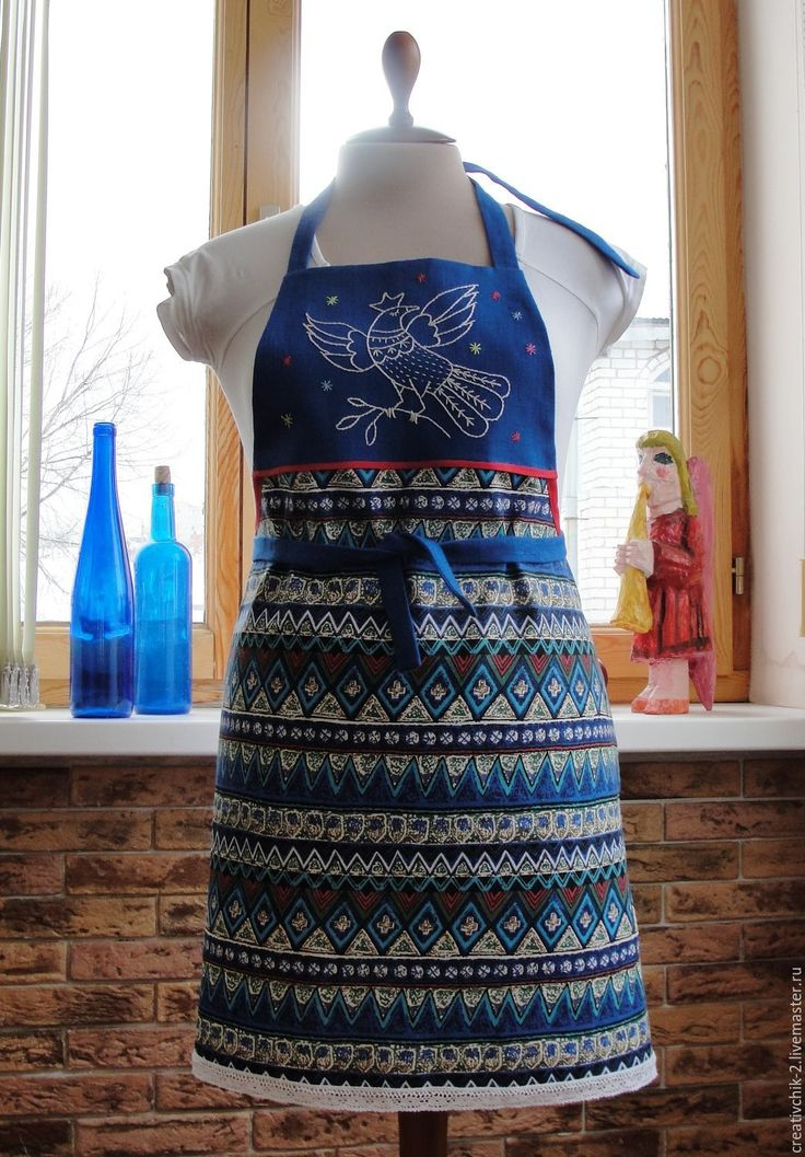 Купить Фартук для кухни Синяя птица - синий фартук для кухни, фартук передник лен