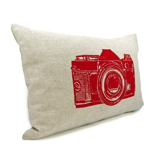 Personalized pillow case - Vintage camera print with your color print on