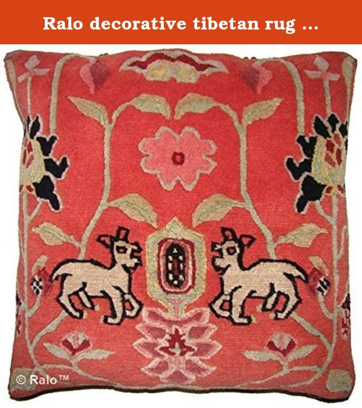 "Ralo decorative tibetan rug pillow. Deer Park orange, 20"" x 20"" Unique rug pillow used meditation or decoration, 100% Tibetan wool, organic cotton backing brass fasteners, removable down feather pillow insert."