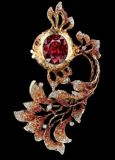 Jewellery Theatre, fairy tales brooch, 8K Yellow Gold, diamonds, light-orange sapphires, dark orange sapphires