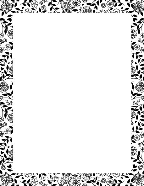 Printable black and white flower border. Use the border in Microsoft Word or other programs for creating flyers, invitations, and other printables. Free GIF, JPG, PDF, and PNG downloads at  http://pageborders.org/download/black-and-white-flower-border/