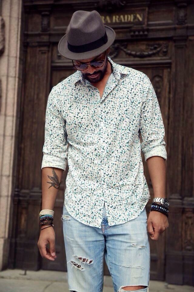 Flowered button-down