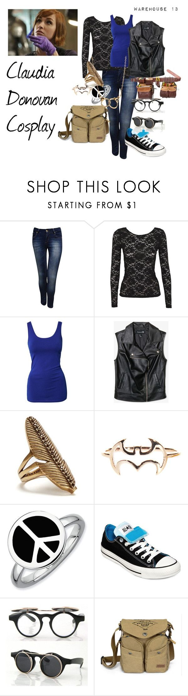 """""""Claudia Donovan Cosplay"""" by fallonskywalker ❤ liked on Polyvore featuring Jane Norman, Alice In The Eve, Modström, Forever 21, Lucky Brand, Expressions, Converse, Retrò, ASOS and Warehouse"""