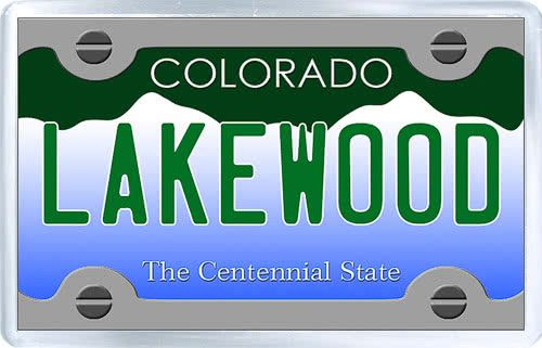 $3.29 - Acrylic Fridge Magnet: United States. License Plate of Lakewood Colorado