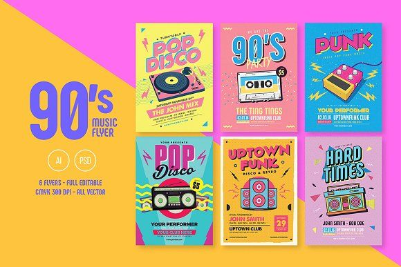 6 Nineties Music Flyers Bundle by Guuver on @creativemarket