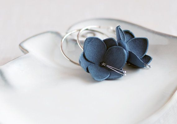 SALE 10% OFF Modern style leather earrings in blue. Handmade leather jewelry