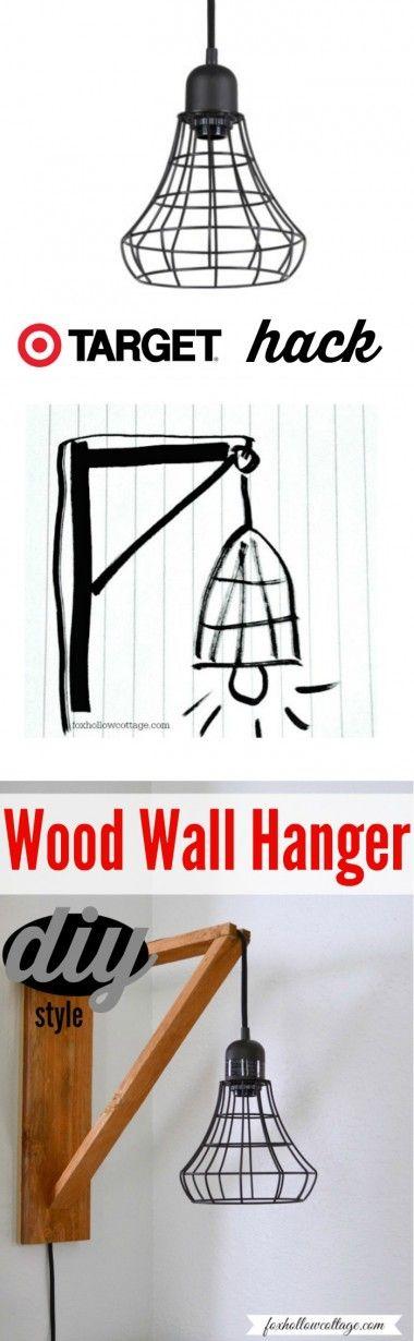 Target Hack - Industrial Pendant Cage Light Makeover - DIY Wood Wall Hanger Tutorial
