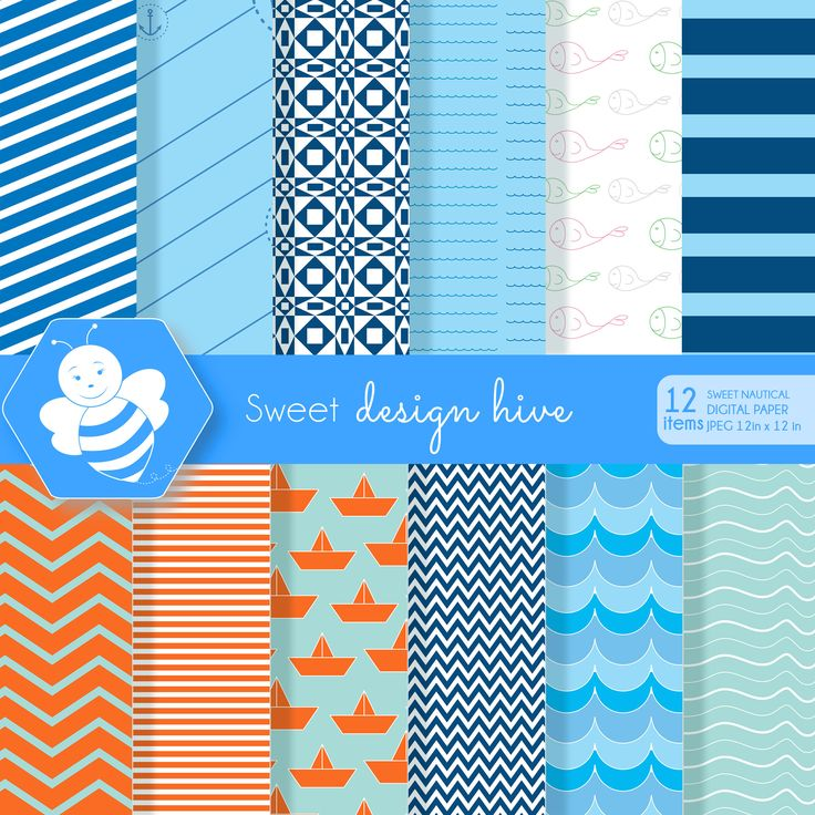 Sweet Nautical Digital Paper, commercial use, digital paper pack, scrapbook papers, background, DP4009 by Sweetdesignhive on Etsy