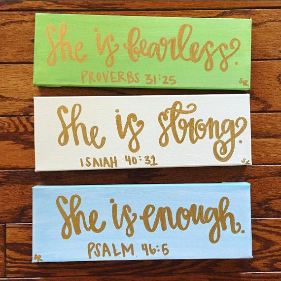 She Is... Canvases Pack of 3 - Inspirational Canvas - Inspirational Wall Hangings - Religious Decor - Bible Verse Canvases - Canvas Set
