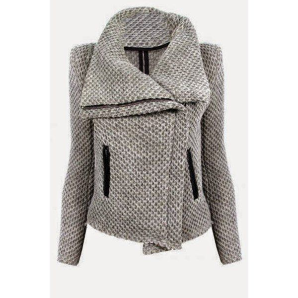 $21.99 Fresh Style Zippered Turn-Down Collar Mesh Knitted Coat For Women