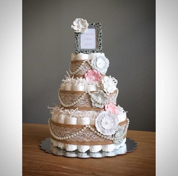 Vintage shabby chic pink and gray diaper cake with burlap, pearls, flowers, & frame, gray and pink shower centerpiece, shabby shower decor