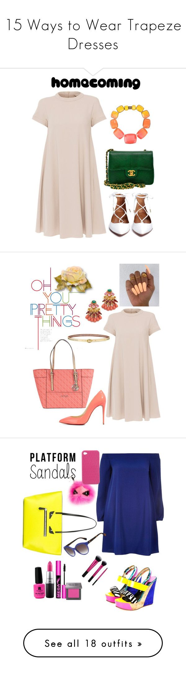 """""""15 Ways to Wear Trapeze Dresses"""" by polyvore-editorial ❤ liked on Polyvore featuring waystowear, trapezedresses, 'S MaxMara, Chanel, Elie Saab, Elizabeth Cole, Christian Louboutin, Lauren Ralph Lauren, GUESS and dresses"""