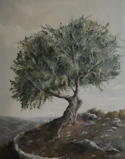 Jassar's Blog: New Oil Painting: Olive Tree Under the Sky