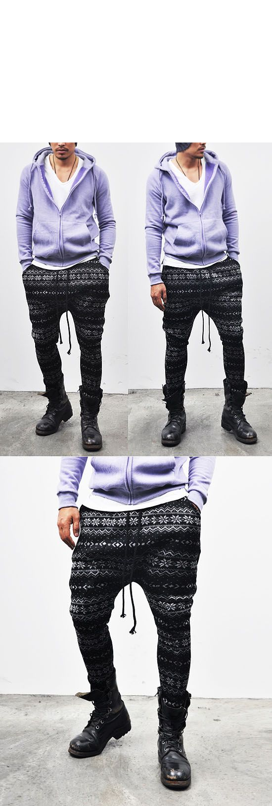 Bottoms :: Sweatpants :: Avant-garde Super Low Jacquard-Sweatpants 32 - Mens Fashion Clothing For An Attractive Guy Look