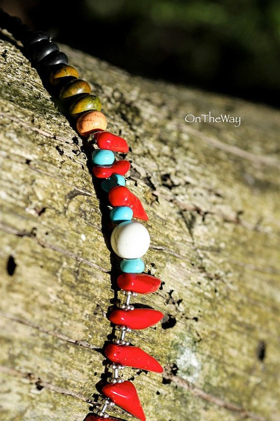 Red coral claws turquoise green and black onyx by LanguWorld