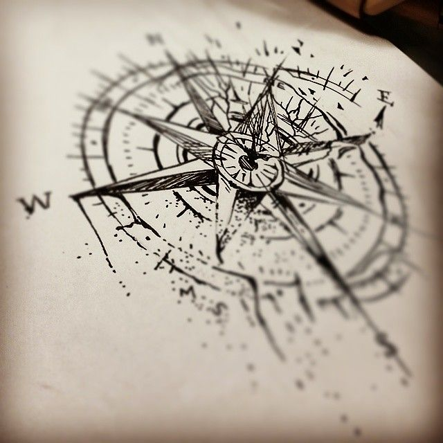 Compass Tattoo Line Drawing : Jenxtattoos tumblr sketch for tomorrow s broken
