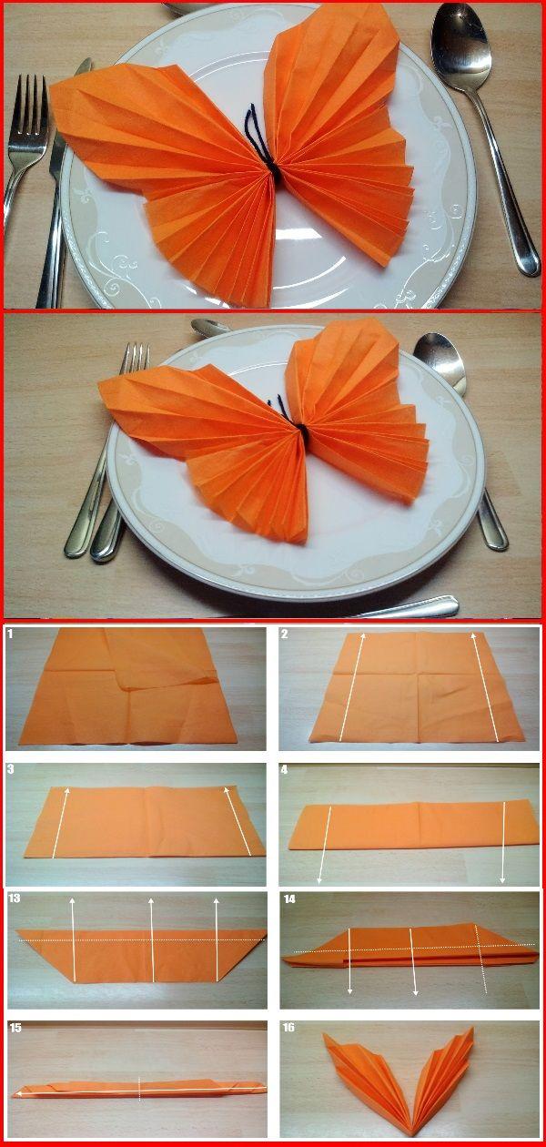 Top 💘 Servietten falten Schmetterling 👈 - Falten mit Kindern US51