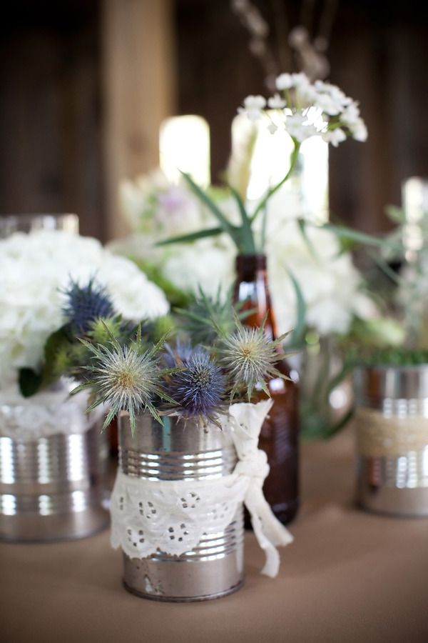{metal cans and old bottles can look pretty!}