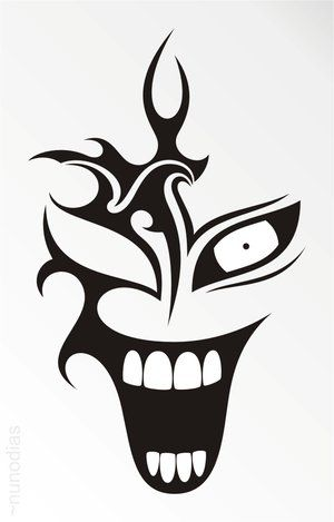 Black Tribal Laughing Clown Head Tattoo Stencil