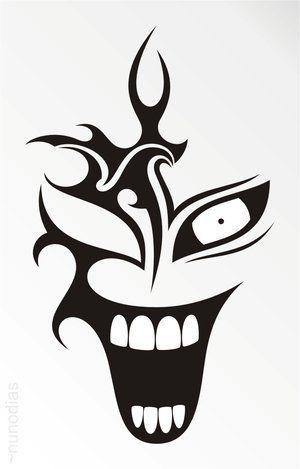 Black Tribal Laughing Clown Head Tattoo Stencil