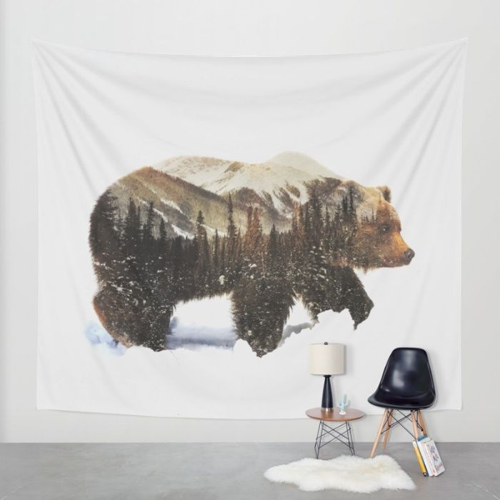 Arctic Grizzly Bear Wall Tapestry by Andreas Lie | Society6